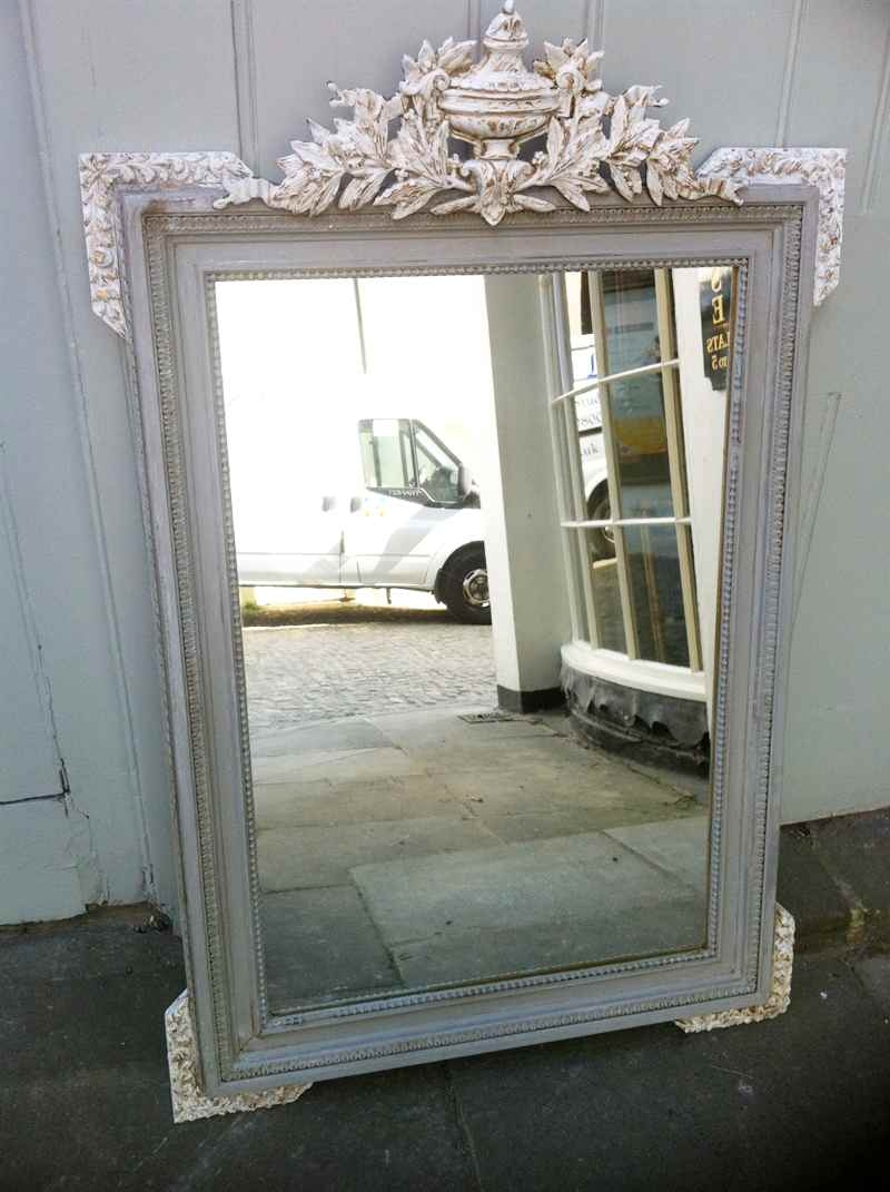 Antique French Painted Urn Crested Wall Mirror Antique All Our With French Mirror (Image 3 of 15)