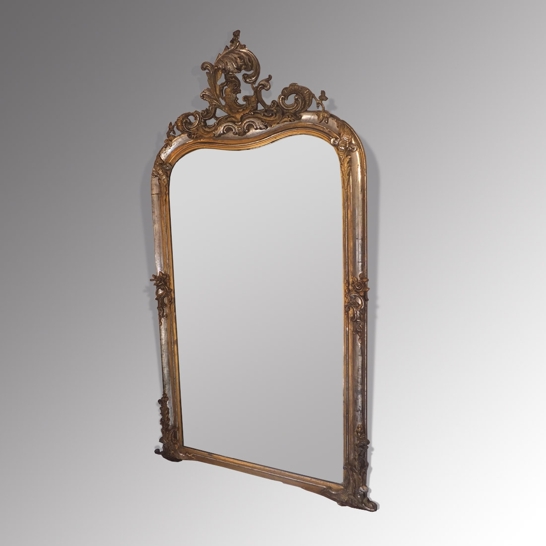 Antique French Silver Gilt Mirror Antique Mirrors Regarding Large Silver Gilt Mirror (Image 5 of 15)