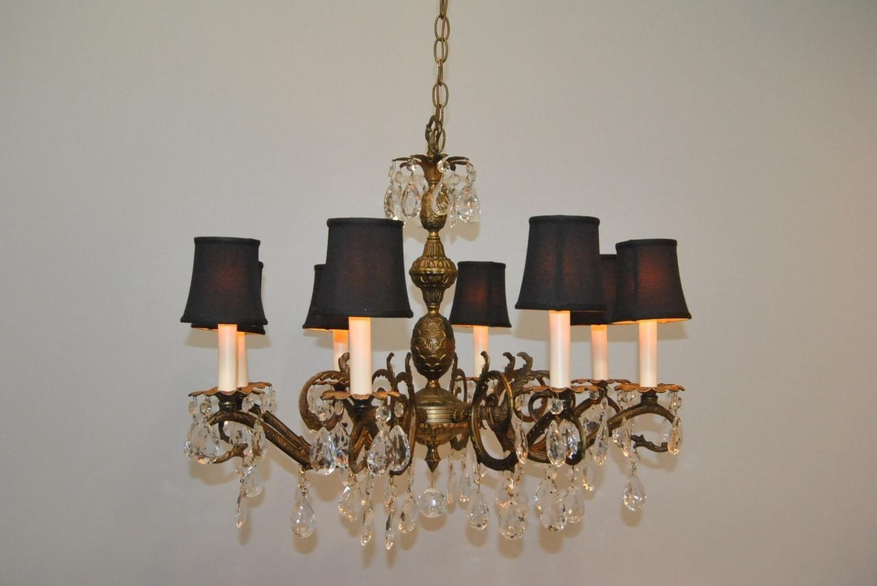 Antique French Style 8 Arm Brass Crystal Chandelier Lefflers With Regard To Brass And Crystal Chandelier (Image 6 of 15)