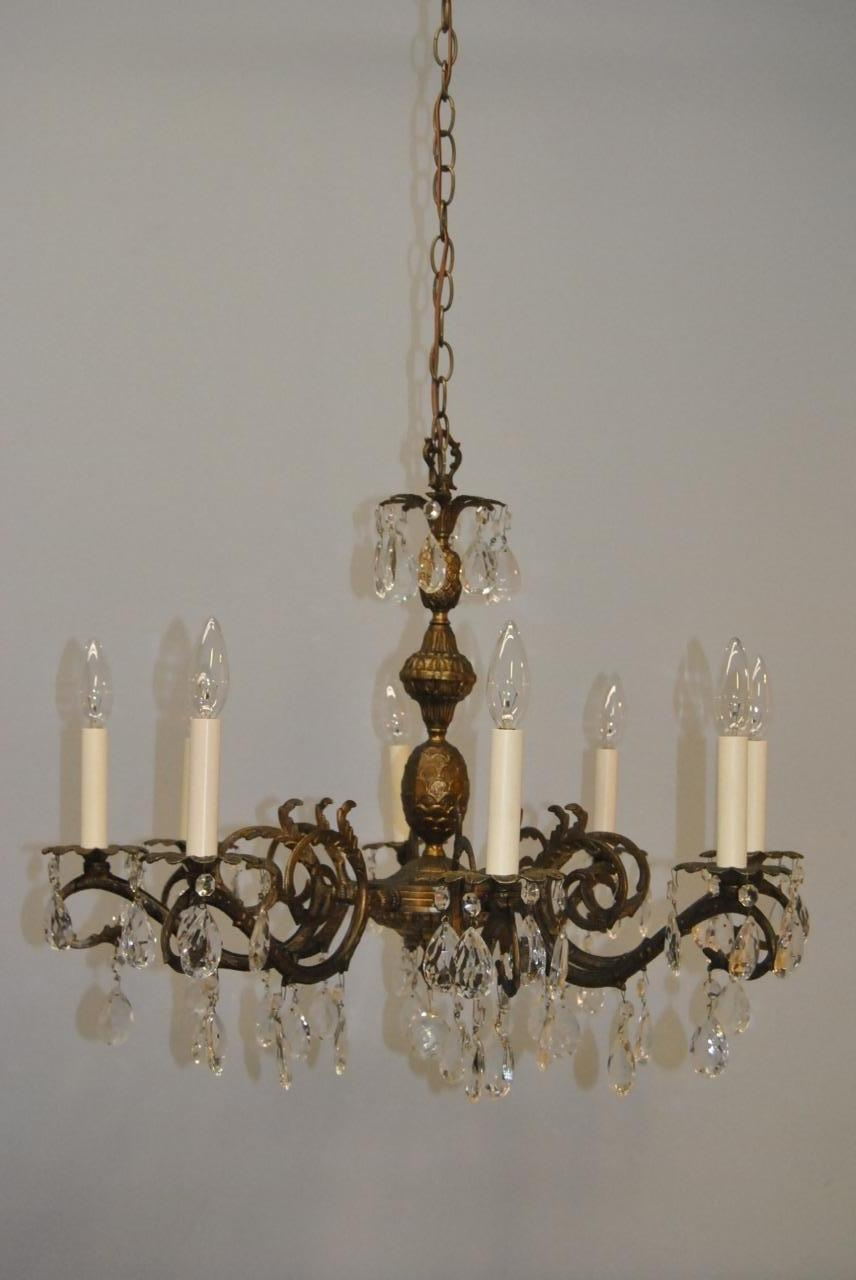 Antique French Style 8 Arm Brass Crystal Chandelier Lefflers With Regard To Crystal And Brass Chandelier (View 11 of 15)