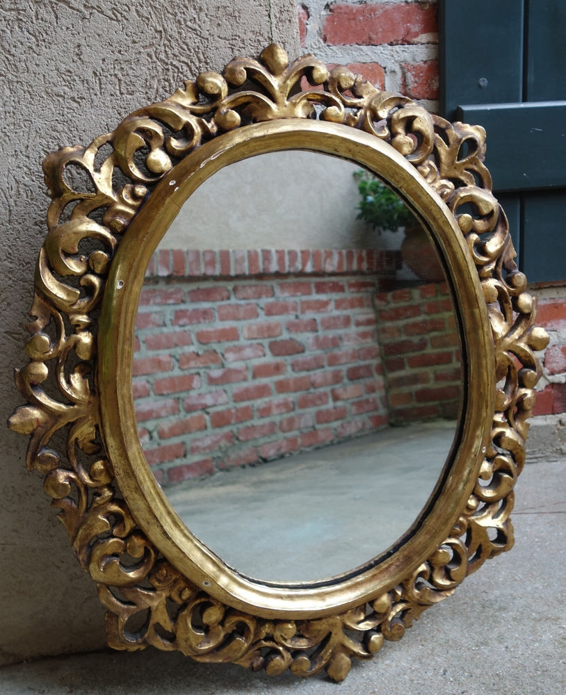 Antique French Wood Gold Gilt Frame Pier Mirror Gesso Baroque Pertaining To Antique Gold Mirror French (Image 4 of 15)