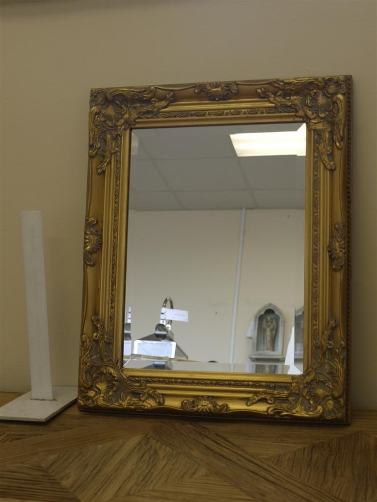 Antique Gilded Gold Finish Wall Mirror Bevelled Glass Small Intended For Big Vintage Mirrors (Image 4 of 15)