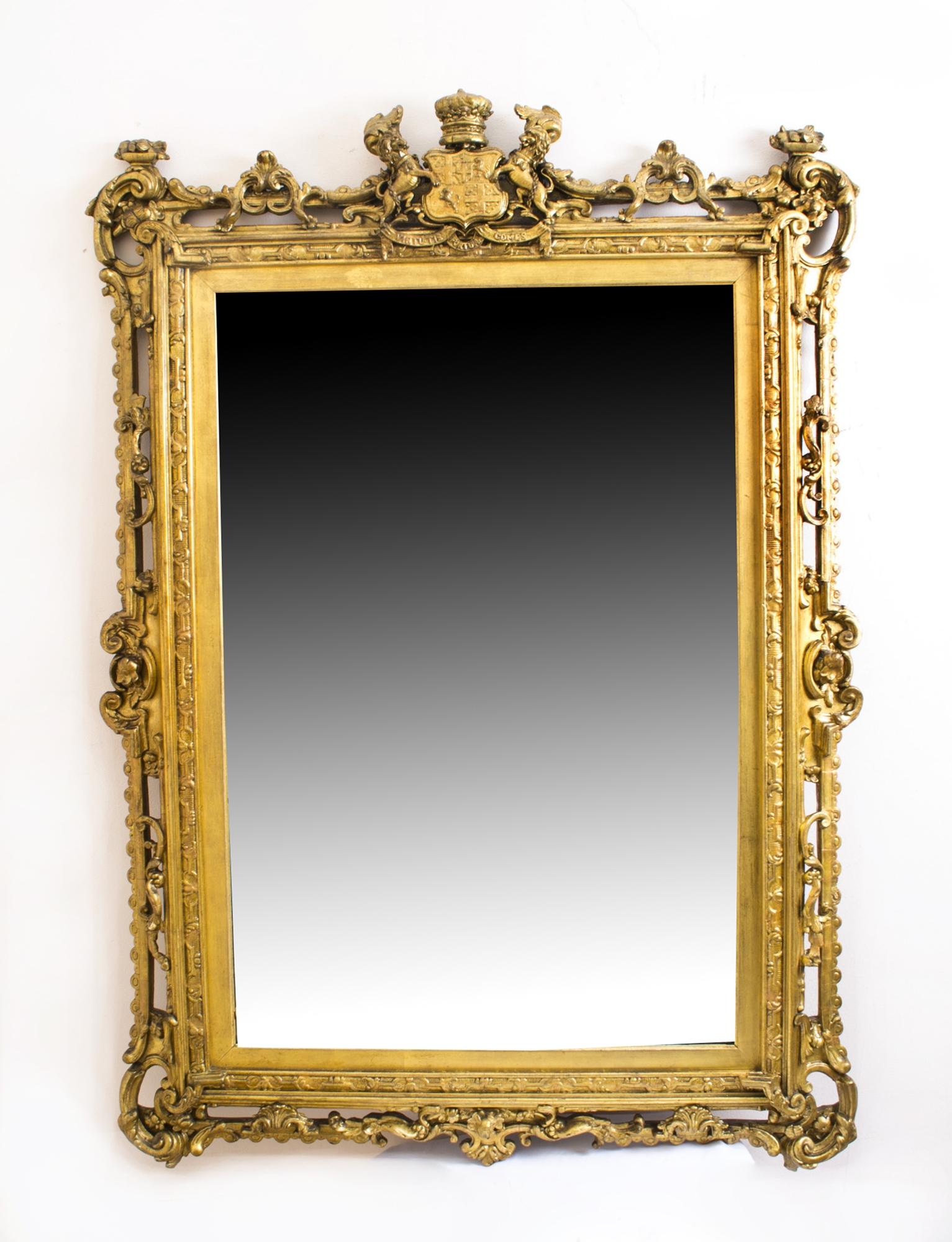 Antique Gilded Mirror With Arms Of The Duke Of Wellington C1850 Inside Antique Gilded Mirror (Image 6 of 15)