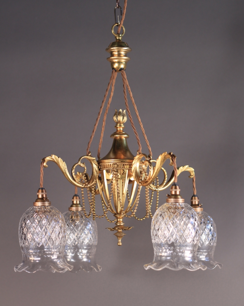 Antique Gilt Chandelier Attr To F C Osler Was 1800 Now 1440 Within Antique Chandeliers (Image 4 of 15)