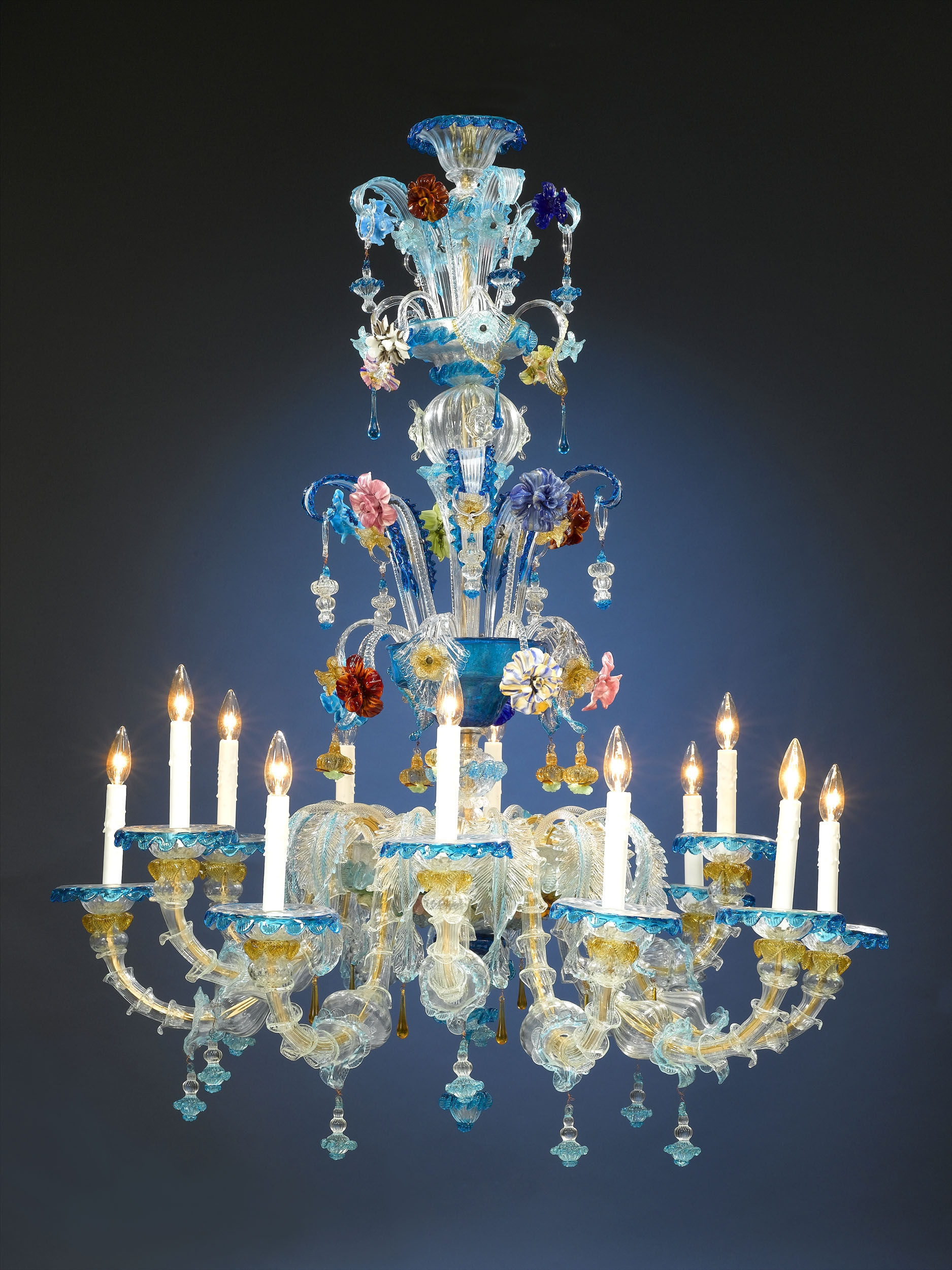 Antique Glass Venetian Glass Murano Glass Chandelier Ms Rau For Coloured Glass Chandelier (Image 2 of 15)