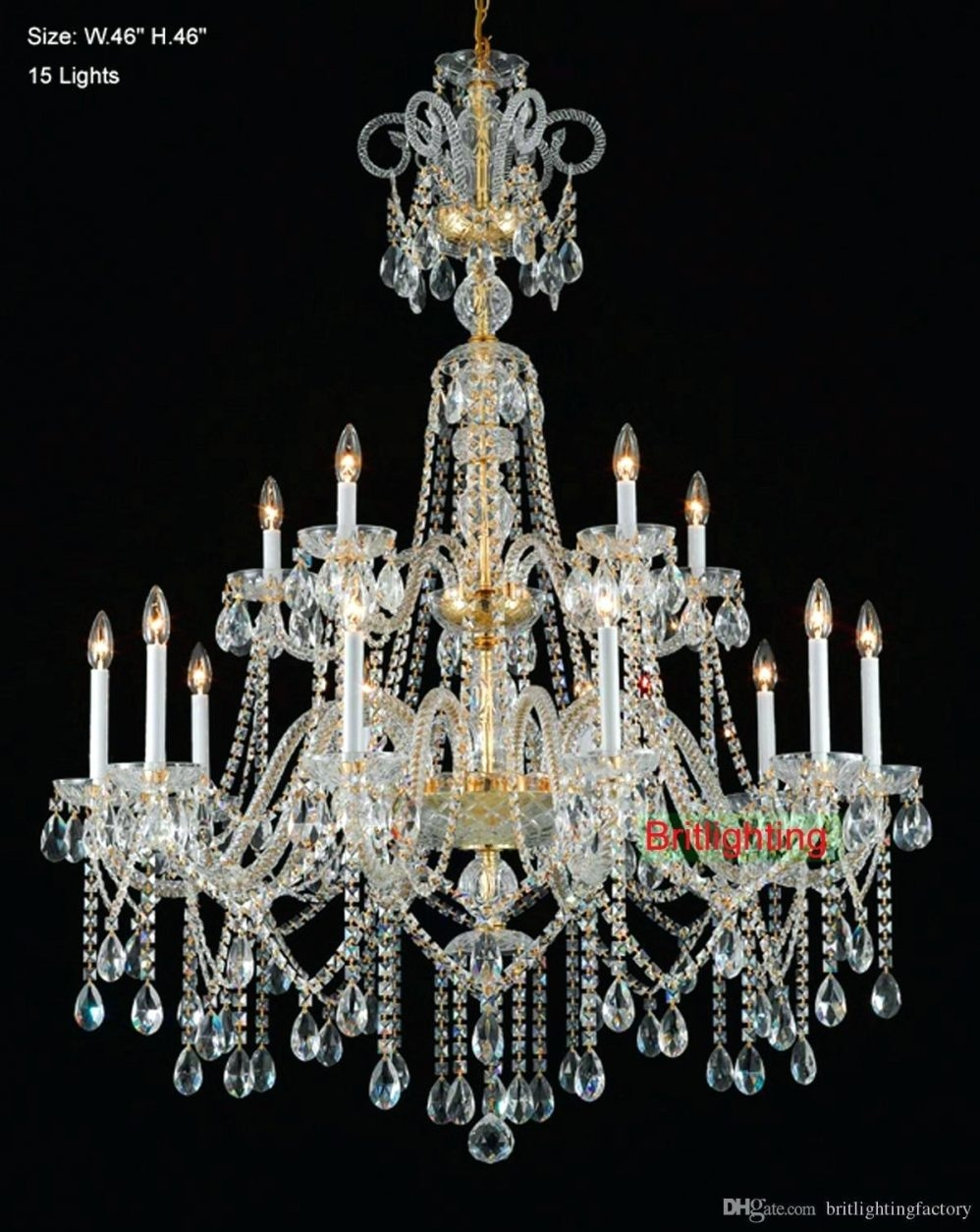 Antique Gold Crystal Chandelier G7 B12 614 3 Grey Crystal In Grey Crystal Chandelier (Image 1 of 15)