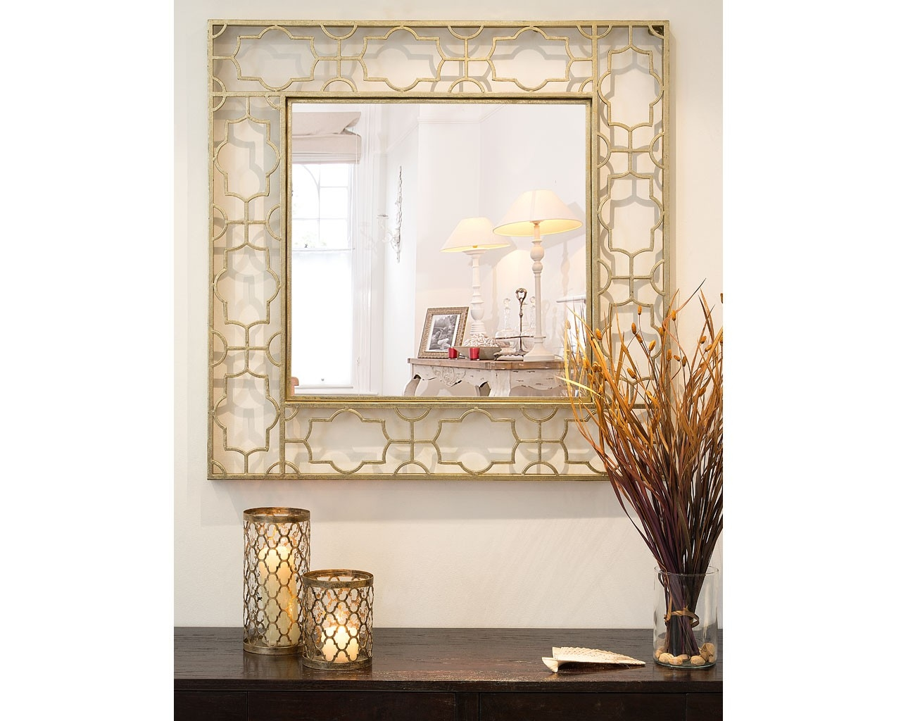 Antique Gold Fretwork Square Mirror The Beautiful Design Of This For Vintage Looking Mirrors (View 15 of 15)