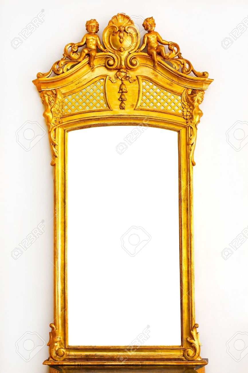 Antique Gold Mirror With Angel Figures On Top Stock Photo Picture Inside Baroque Gold Mirror (Image 2 of 15)