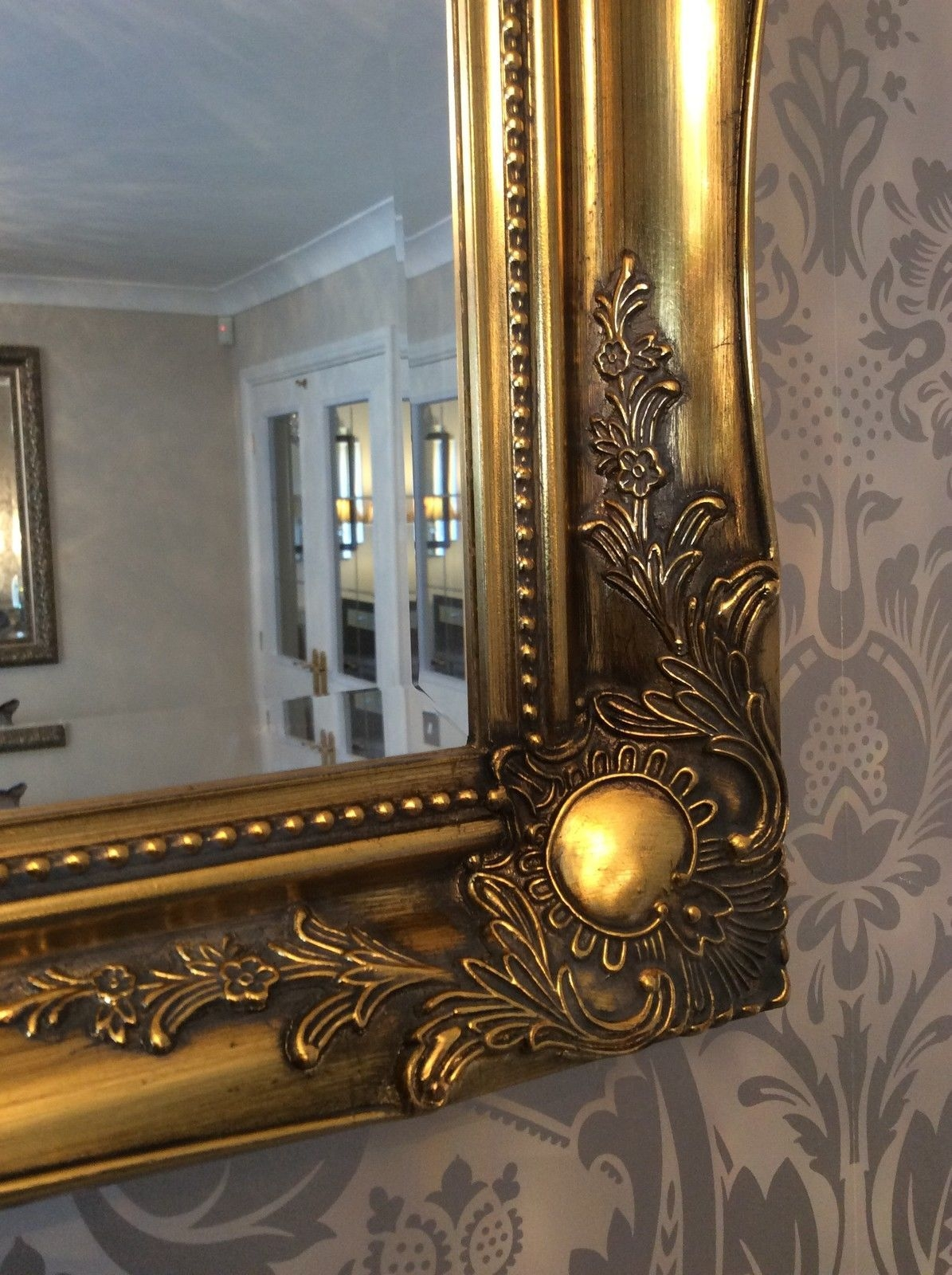 Antique Gold Shab Chic Ornate Decorative Over Mantle Gilt Wall Intended For Shabby Chic Gold Mirror (Image 3 of 15)