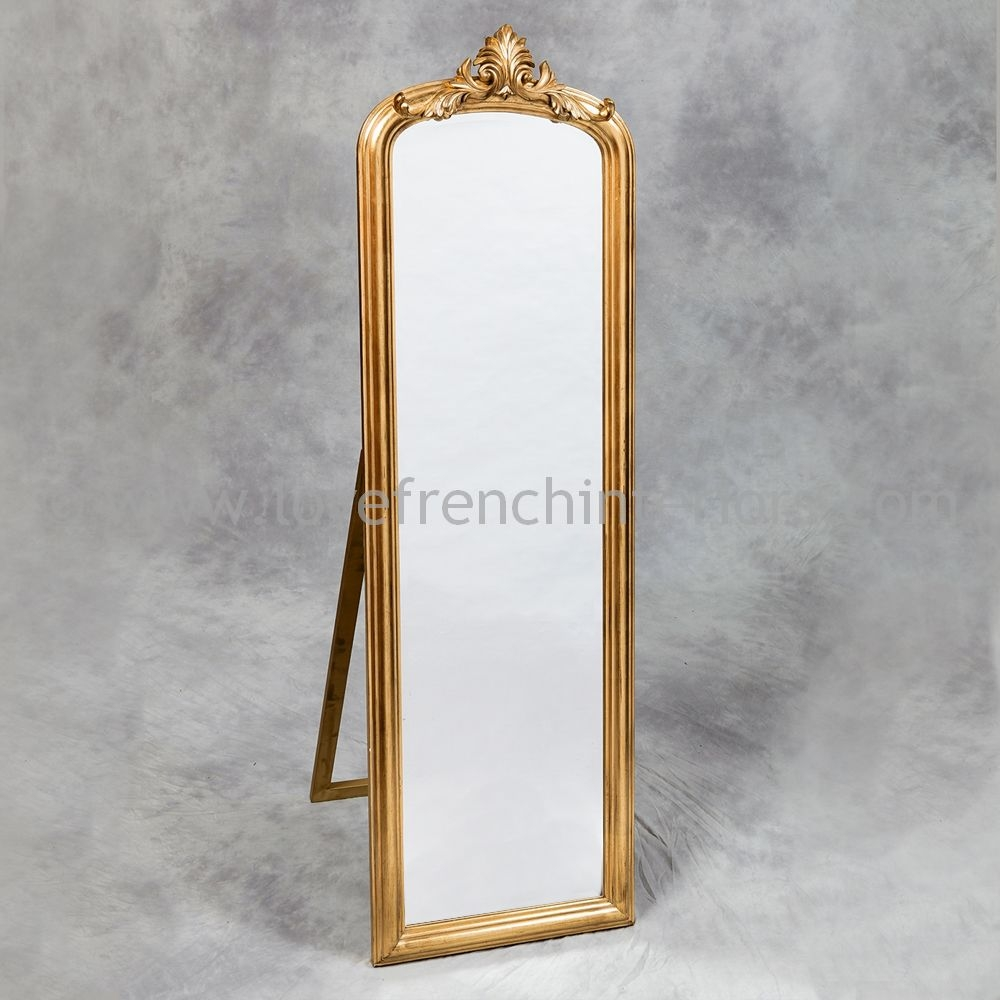 Antique Gold Tall Slim Dressing Mirror Throughout Tall Dressing Mirror (Image 3 of 15)