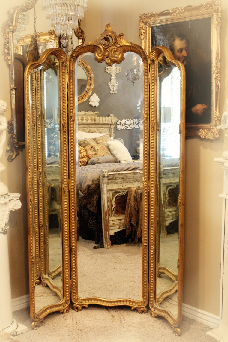 Antique Hand Carved Gilt Three Panel Mirror Shab Chic With Regard To Cheap Shabby Chic Mirrors (Image 3 of 15)