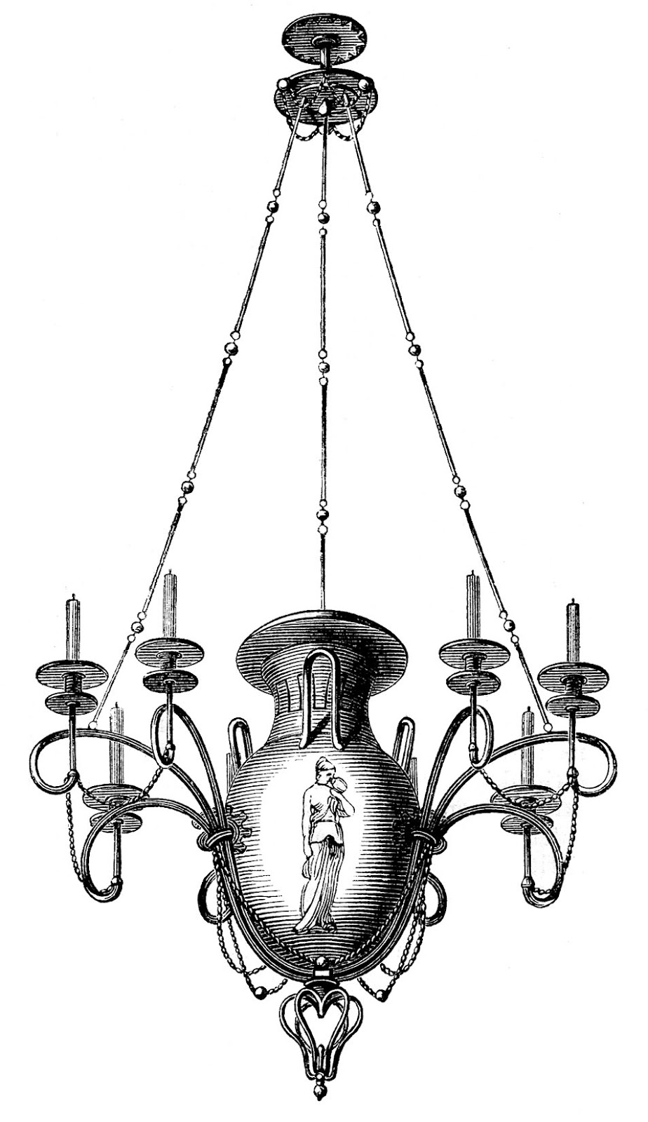 Antique Images 3 Chandeliers 1 Spooky The Graphics Fairy Regarding Antique Black Chandelier (Image 3 of 15)