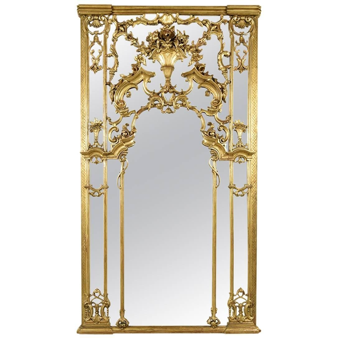 Antique Large French Gilt Mirror 1900s For Sale At Pamono Pertaining To Gilt Mirror (View 9 of 15)