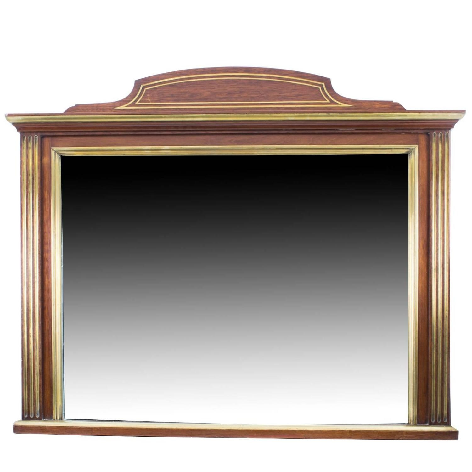 Antique Mahogany Brass Inlaid Over Mantle Mirror Circa 1900 For Regarding Antique Overmantle Mirrors (Image 3 of 15)