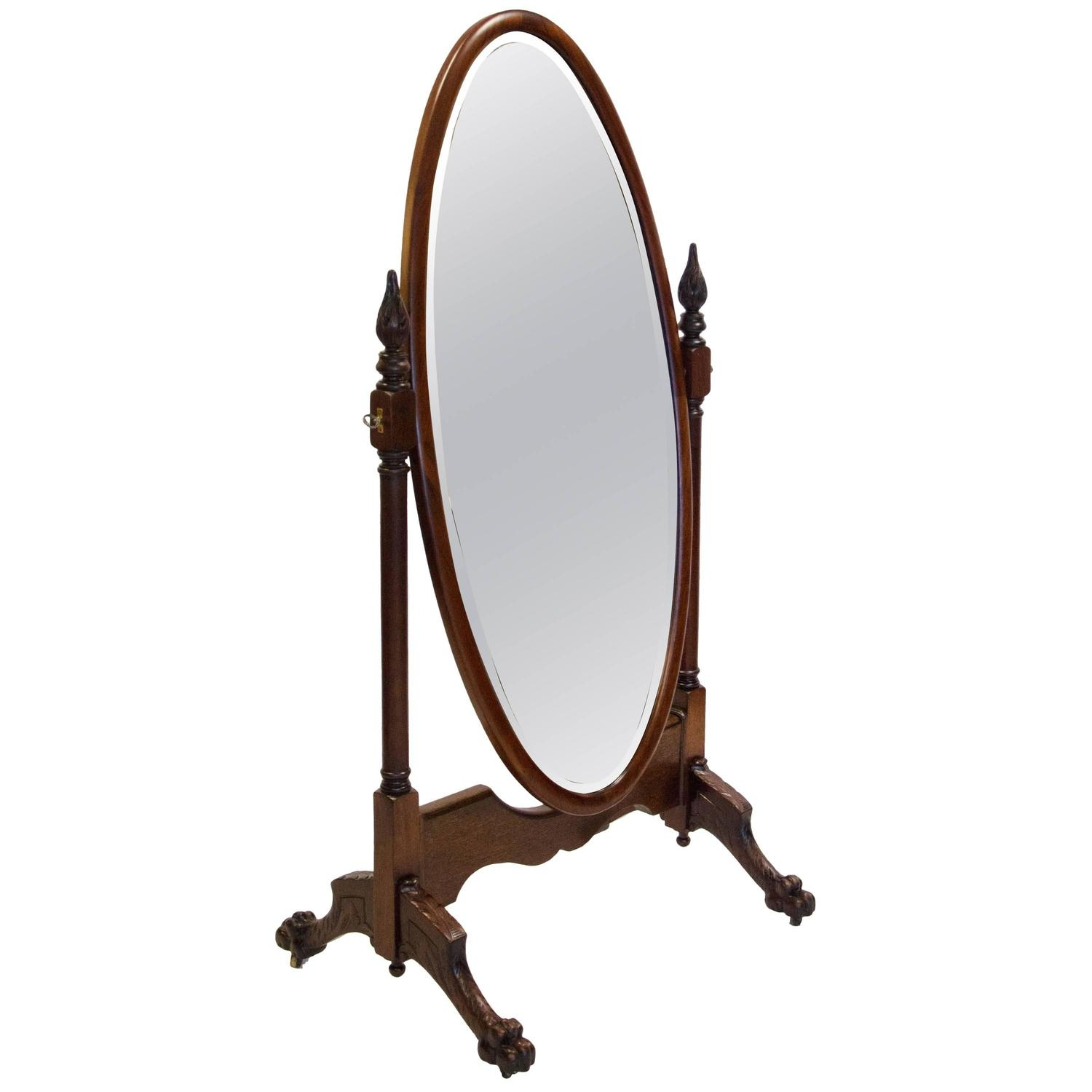 Antique Mahogany Cheval Dressing Mirror For Sale At 1stdibs Throughout Antique Dressing Mirror Full Length (Image 5 of 15)