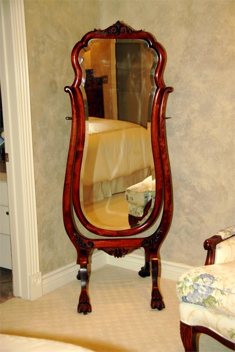 Antique Mahogany Full Length Cheval Mirror Throughout Antique Full Length Mirror (Image 1 of 15)