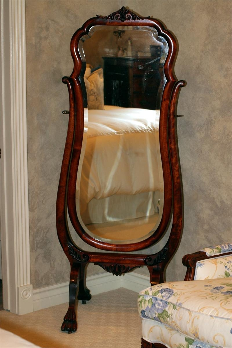 Antique Mahogany Full Length Cheval Mirror Vintage Classic Within Antique Full Length Mirror (Image 2 of 15)