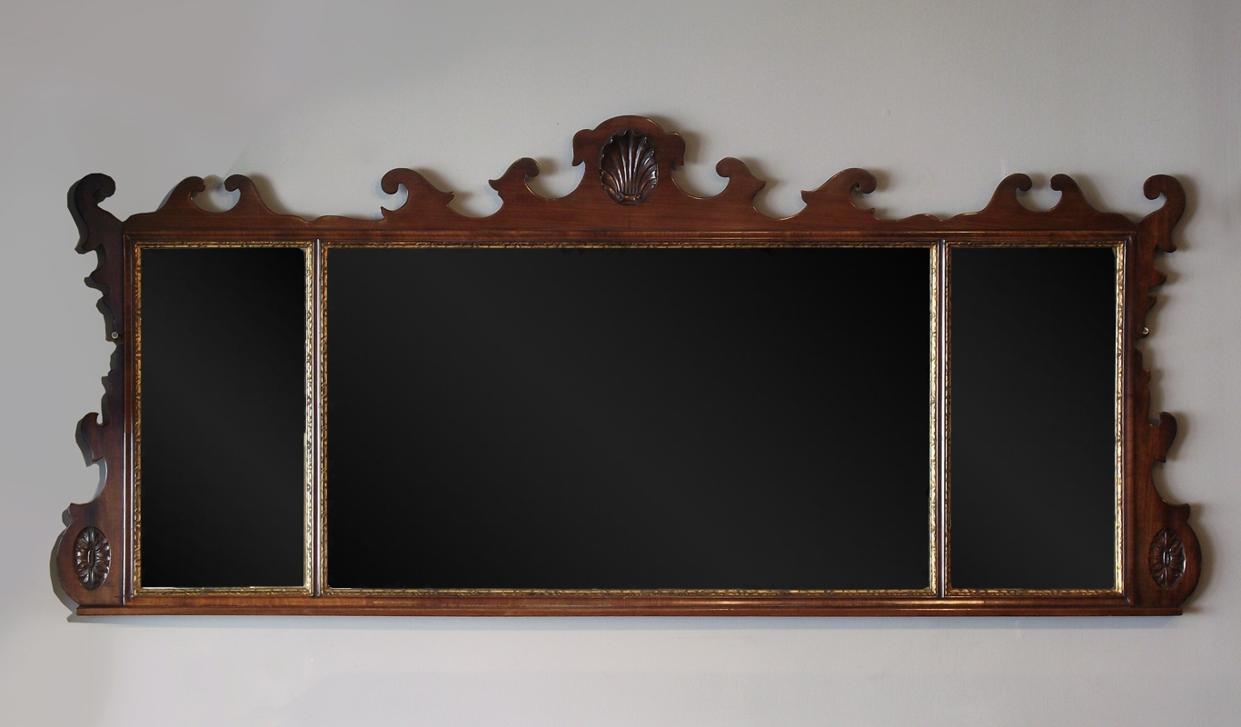 Antique Mahogany Overmantel Mirror Fret Overmantel Mirror Wooden For Antique Overmantle Mirrors (Image 4 of 15)