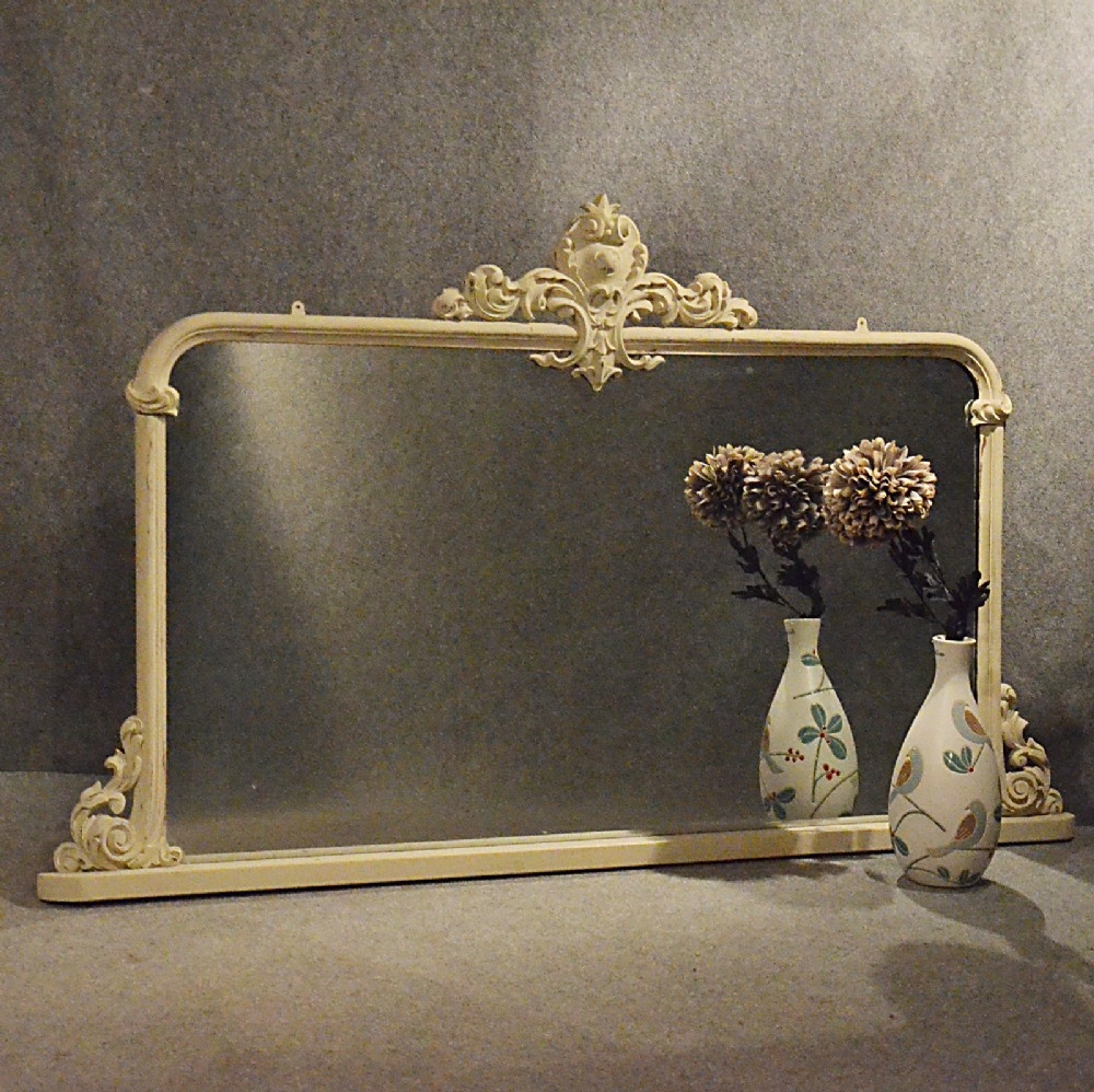 Antique Mirror Large Victorian Overmantle Ornate Painted French Inside Victorian Mirrors Antique (Image 3 of 15)