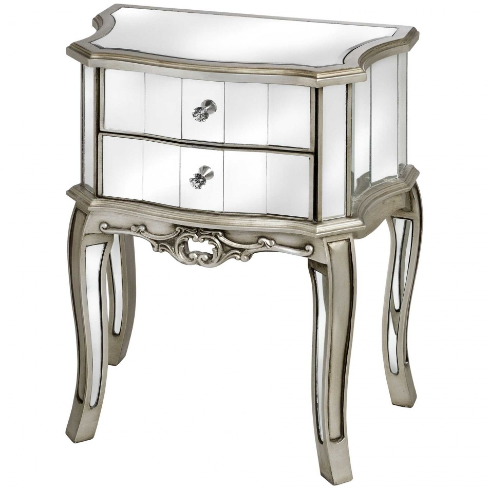 Antique Mirrored Nigthstand With Single Drawer Design With Curved Regarding Antique Mirrored Bedside Tables (Image 6 of 15)