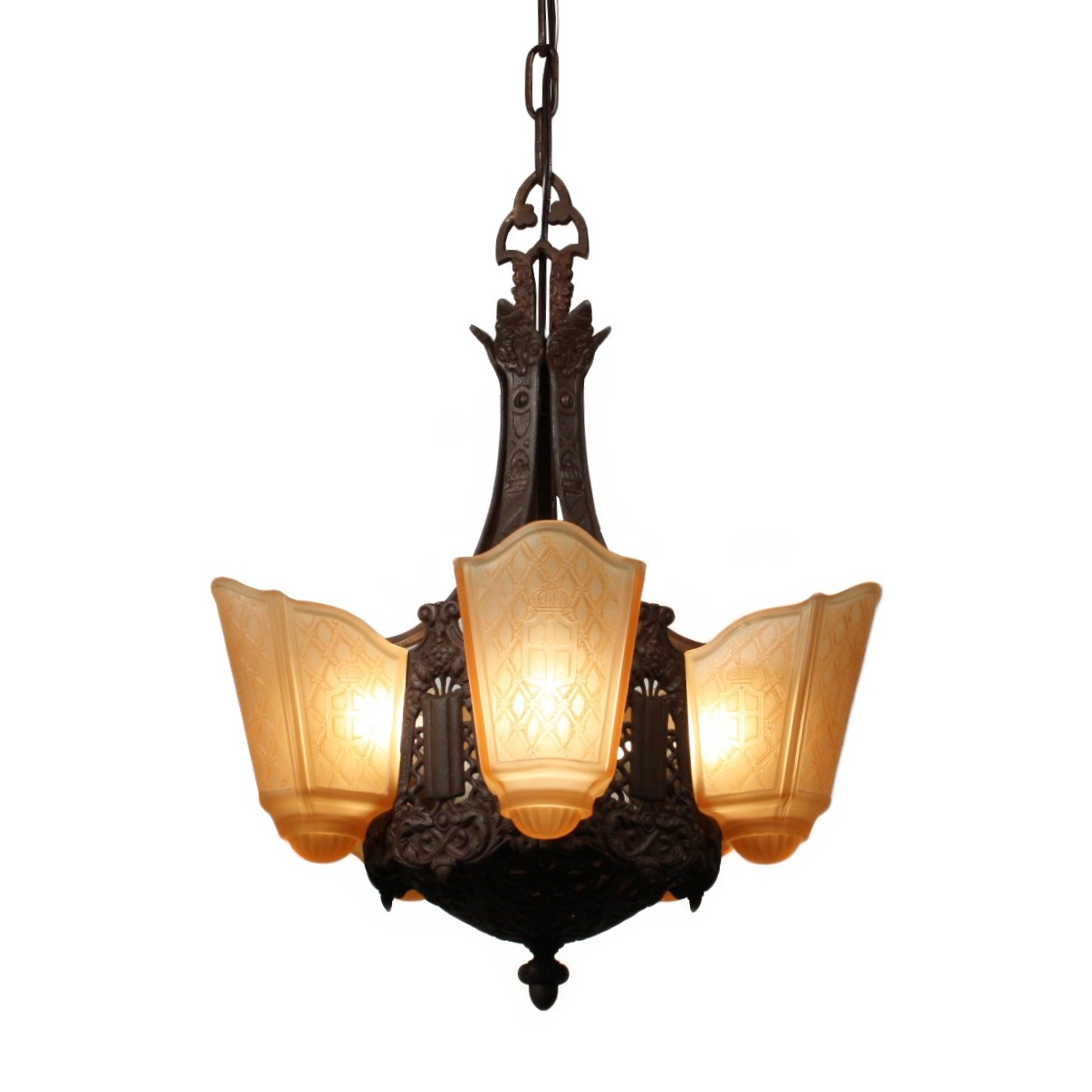 Antique Moe Bridges Cast Iron Art Deco Slip Shade Chandelier For Cast Iron Antique Chandelier (Image 8 of 15)