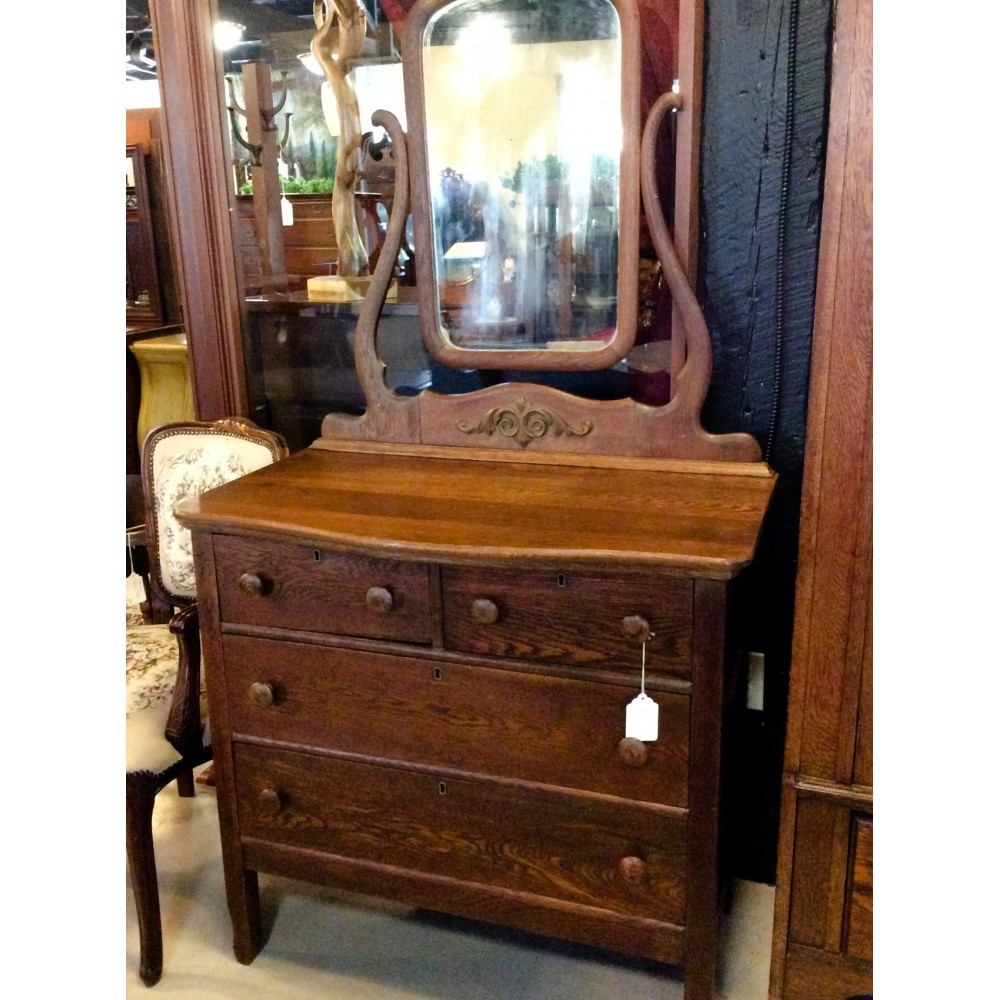 Antique Oak Dresser With Mirror Furniture4u Pertaining To Antique Oak Mirrors (View 2 of 15)