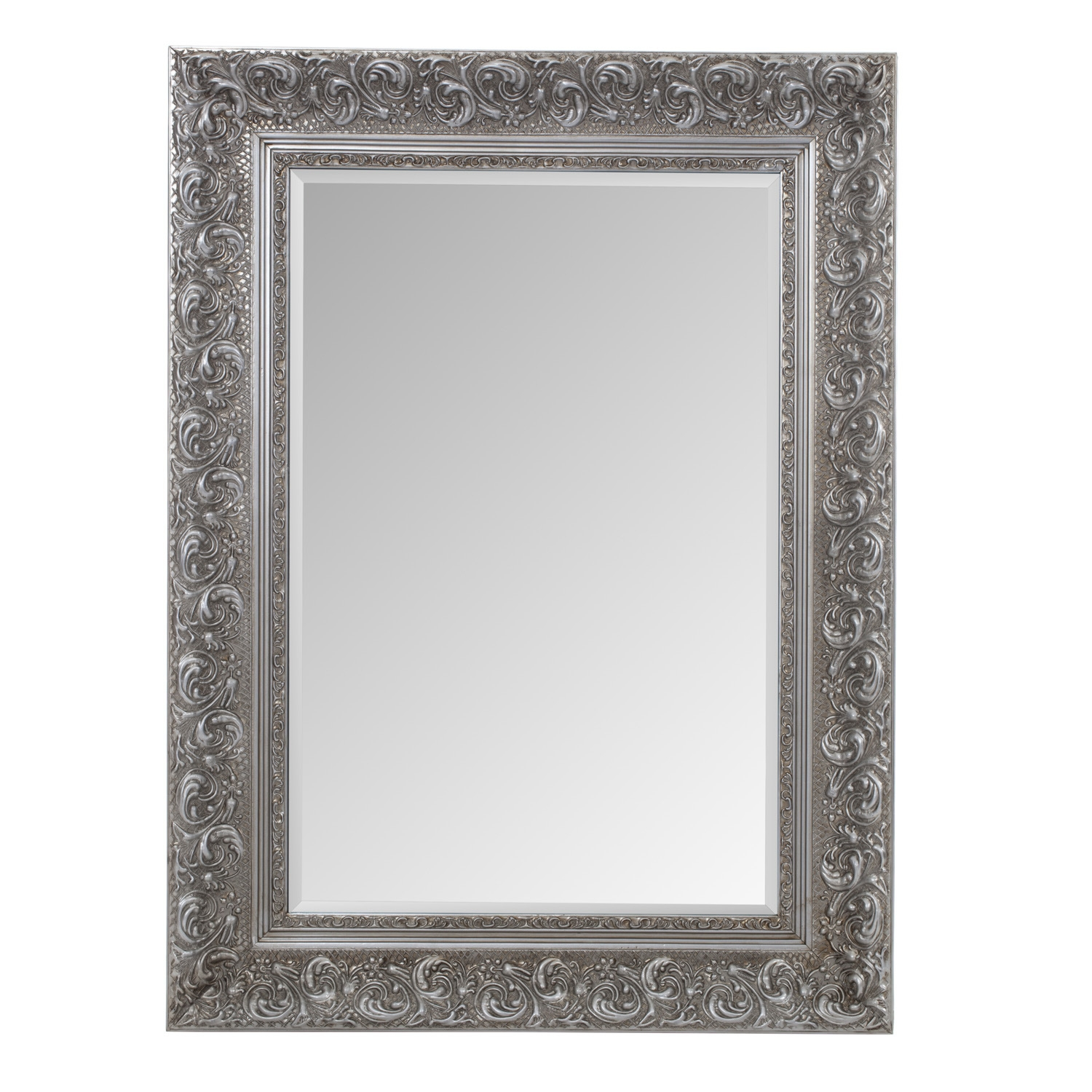 Antique Ornate Mirror Silver Intended For Silver Ornate Mirror (Image 4 of 15)