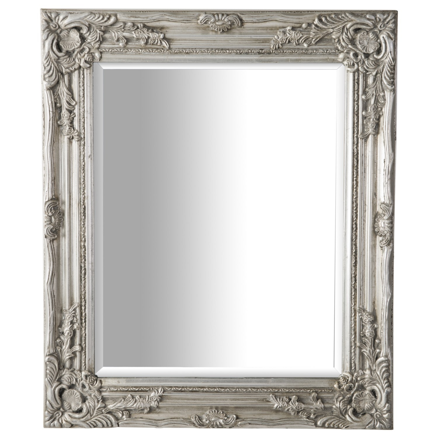 Antique Ornate Mirror Silver Intended For Silver Ornate Mirror (Image 3 of 15)