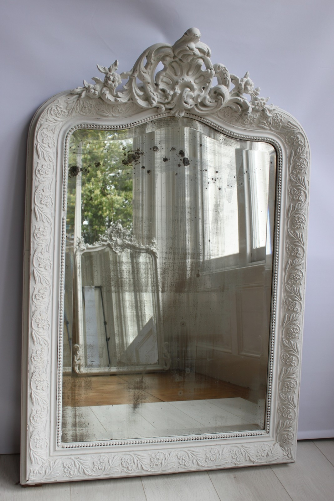 Antique Painted French Mirror The Hoarde Inside French Antique Mirrors For Sale (Image 6 of 15)