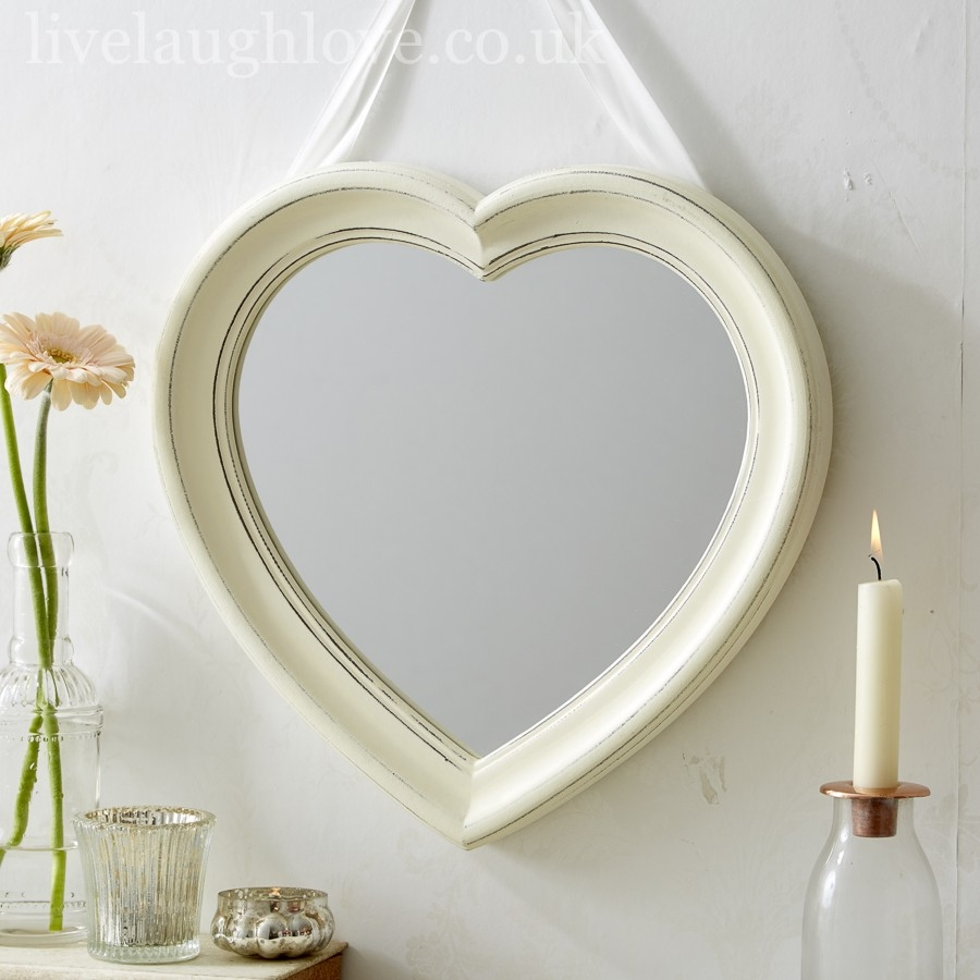 Antique Painted Hanging Heart Mirror Live Laugh Love For Heart Wall Mirror (Image 1 of 15)