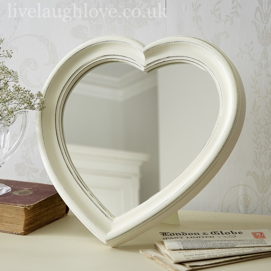 Antique Painted Hanging Heart Mirror Live Laugh Love Regarding Heart Wall Mirror (Image 2 of 15)