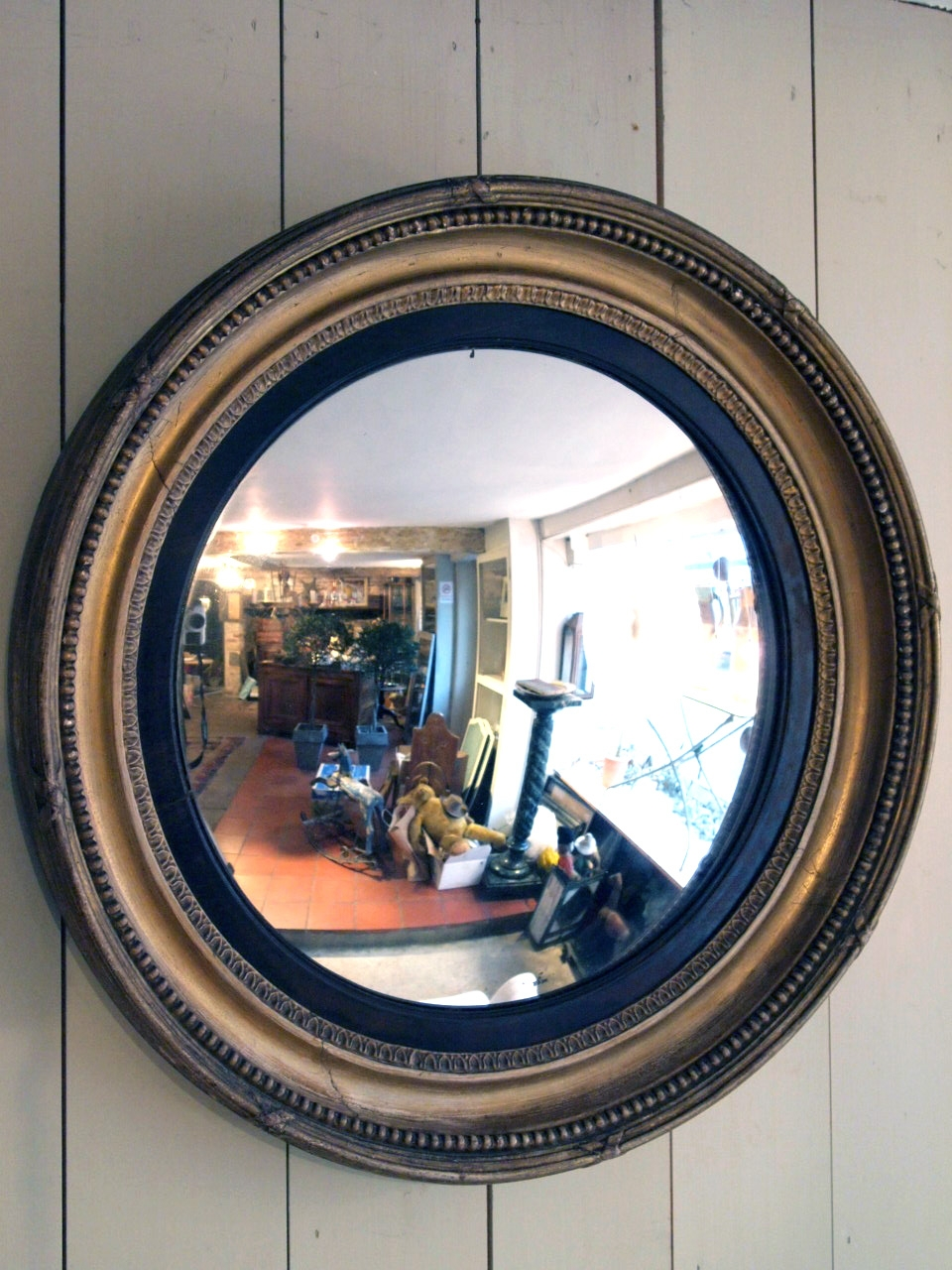 Antique Round Convex Mirror Puckhaber Decorative Antiques In Convex Mirror Decorative (Image 3 of 15)