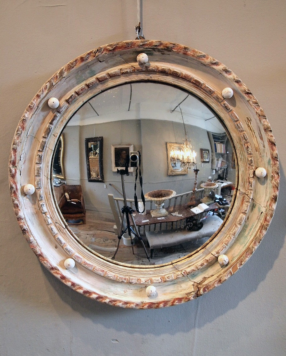 Antique Round Convex Mirror Puckhaber Decorative Antiques Inside Antique Round Mirrors (View 3 of 15)