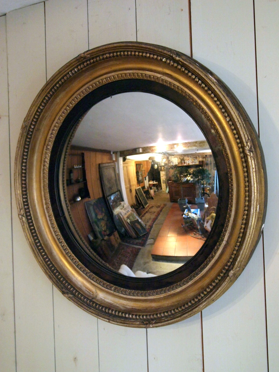 Antique Round Convex Mirror Puckhaber Decorative Antiques Regarding Decorative Convex Mirrors (Image 2 of 15)