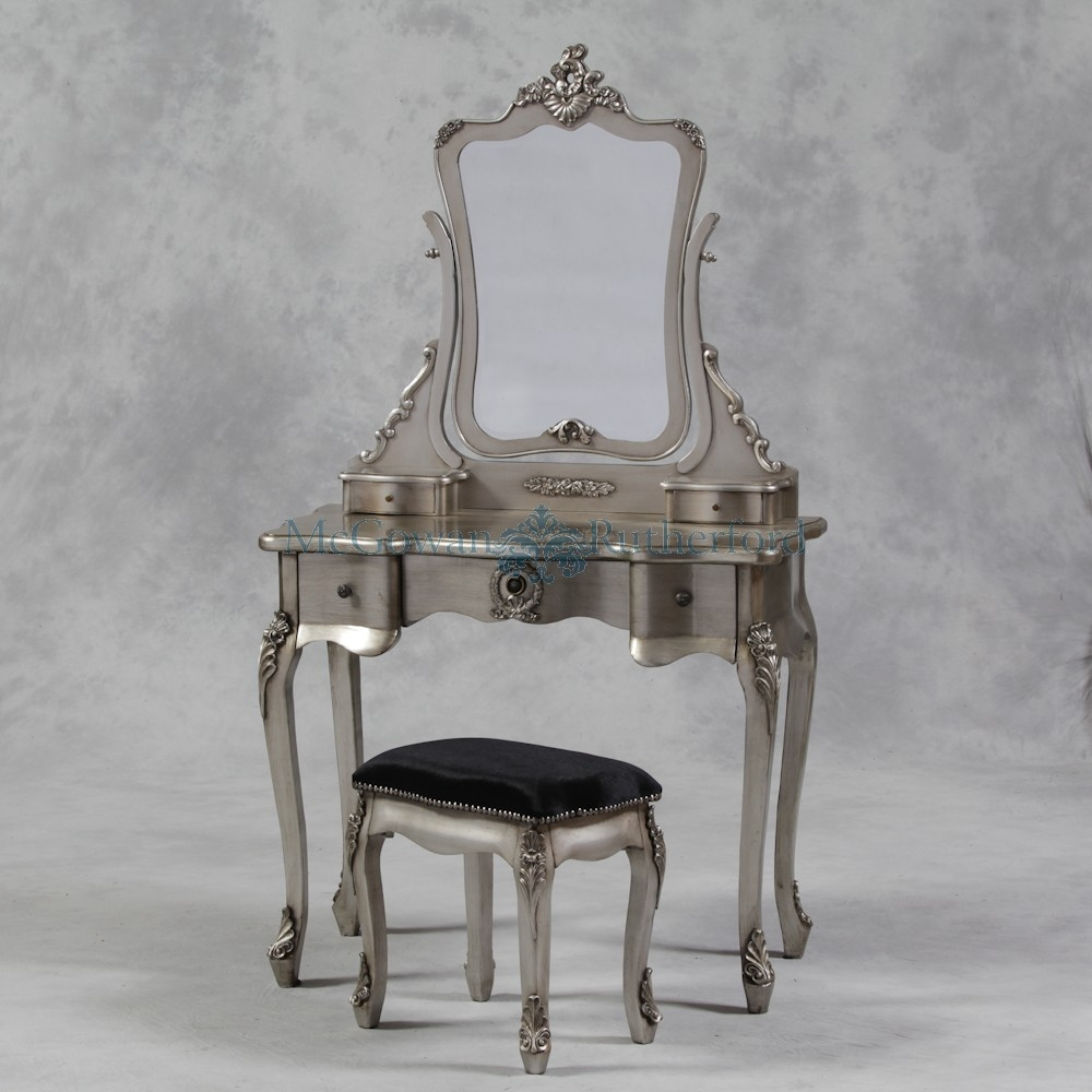Antique Silver French Style Dressing Table Mirror And Stool Set Pertaining To Silver French Mirror (Image 3 of 15)
