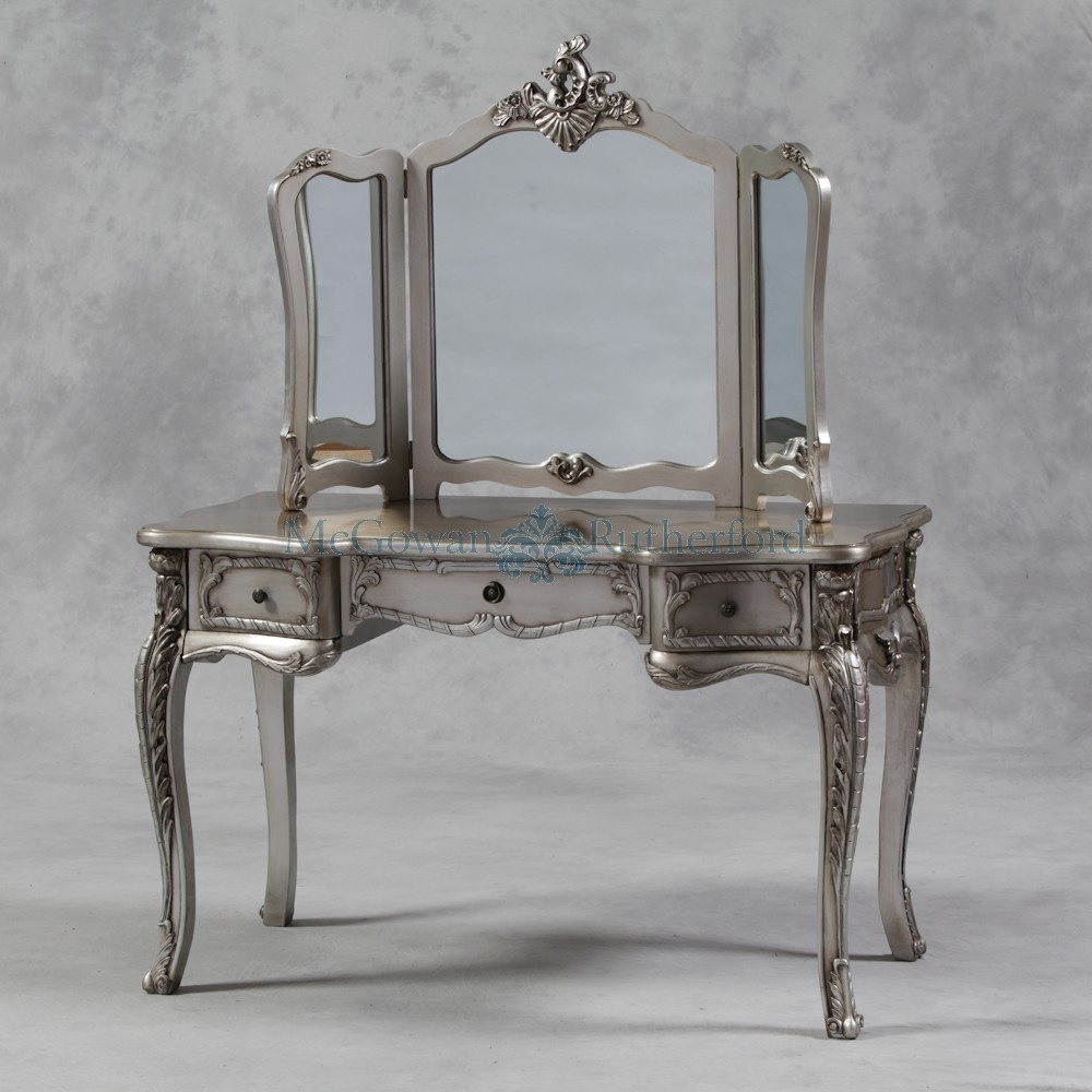 Antique Silver French Style Large Dressing Table And Mirror Intended For French Style Dressing Table Mirror (Image 3 of 15)