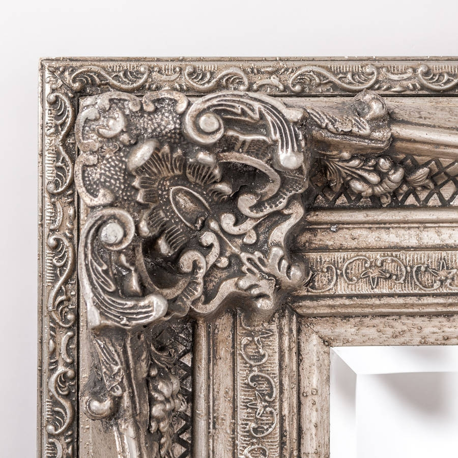 Antique Silver Ornate Rococo Mirror Hand Crafted Mirrors For Antique Ornate Mirror (Image 3 of 15)