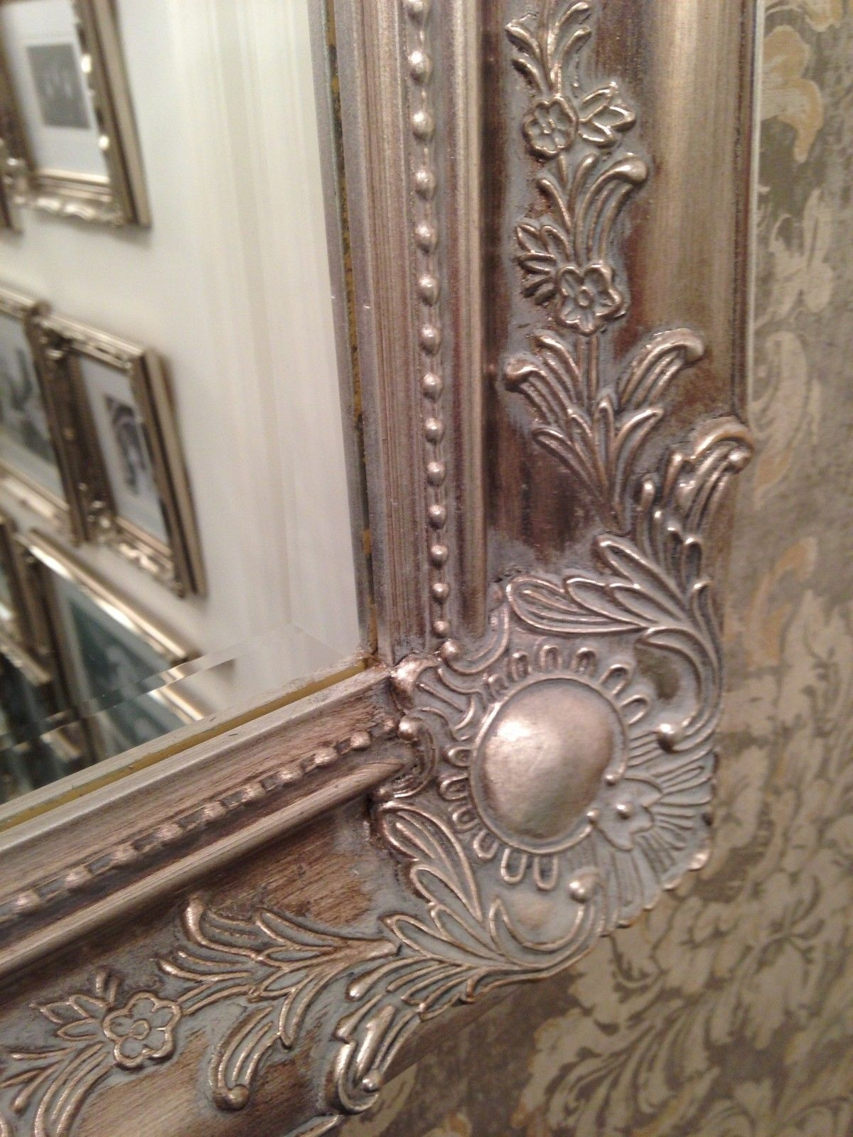 Antique Silver Shab Chic Ornate Decorative Over Mantle Wall Mirror In Large Antique Silver Mirror (Image 1 of 15)