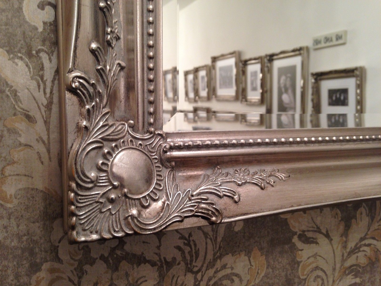 Antique Silver Shab Chic Ornate Decorative Over Mantle Wall Mirror Pertaining To Large Antique Silver Mirror (Image 2 of 15)