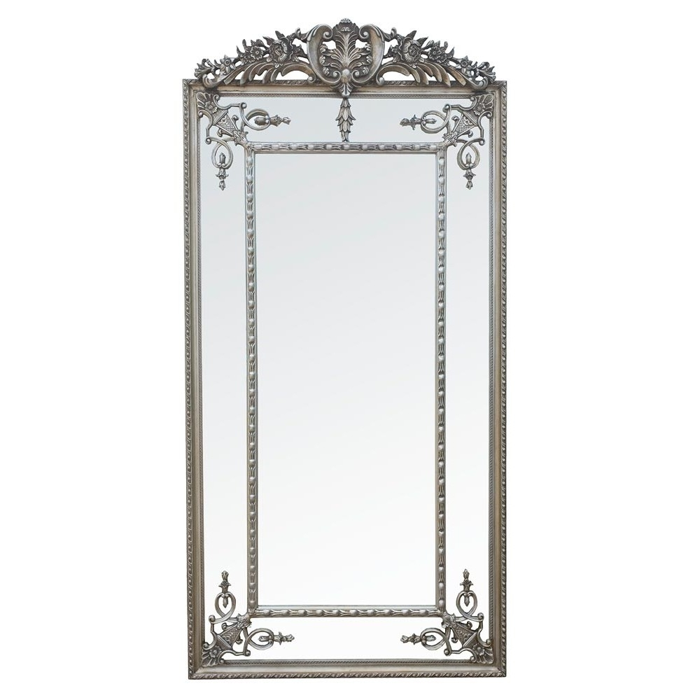 Antique Style Silver Margin Large Floor Standing Full Length Intended For Silver Floor Standing Mirror (Image 4 of 15)