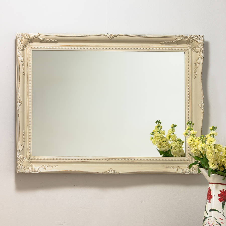 Antique Style Swept Frame Mirror With Cream Mirror (View 3 of 15)