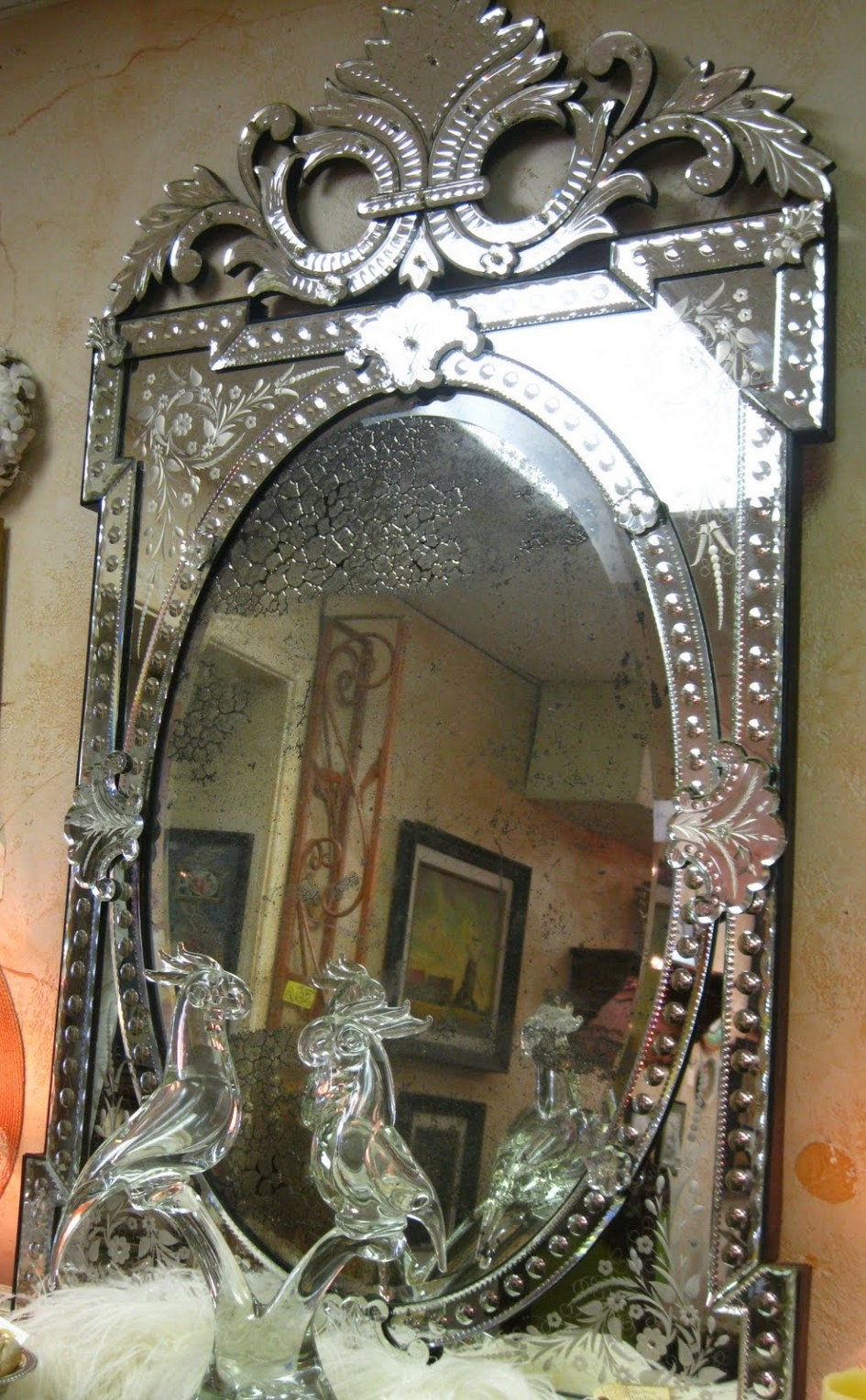 Antique Venetian Glass Mirror Intended For Venetian Glass Mirrors Antique (Image 2 of 15)