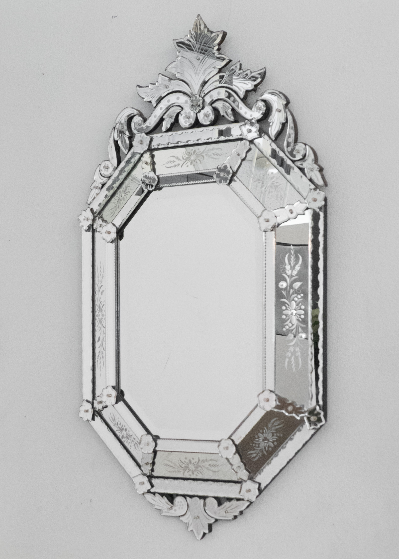 Antique Venetian Glass Mirror Jean Marc Fray Within Venetian Etched Glass Mirror (Image 2 of 15)