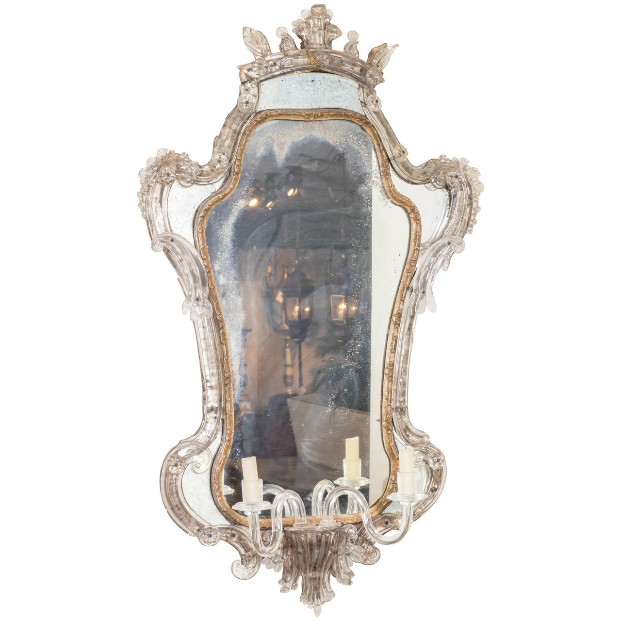Antique Venetian Glass Mirror With Blown Glass Sconce Italy Circa In Venetian Glass Mirrors Antique (Image 4 of 15)