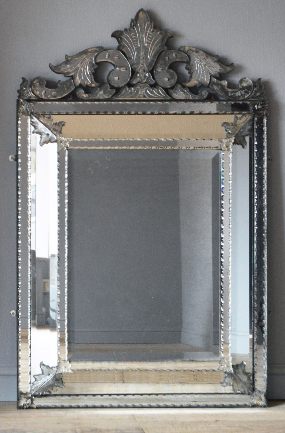 Antique Venetian Glass Mirror Within Antique Venetian Mirror (Image 4 of 15)