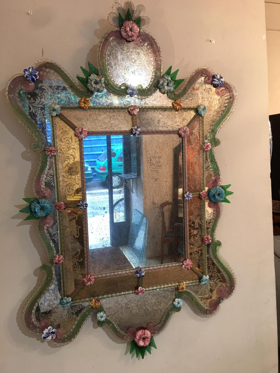 Antique Venetian Mirror For Sale At Pamono Pertaining To Venetian Mirror Antique (Image 3 of 15)