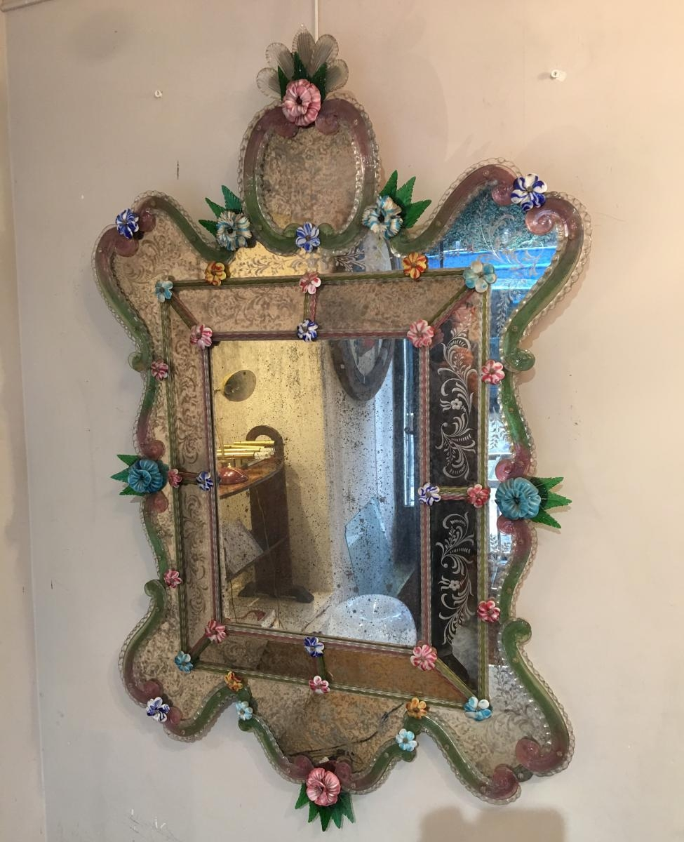 Antique Venetian Mirror For Sale At Pamono Throughout Venetian Mirror For Sale (Image 3 of 15)