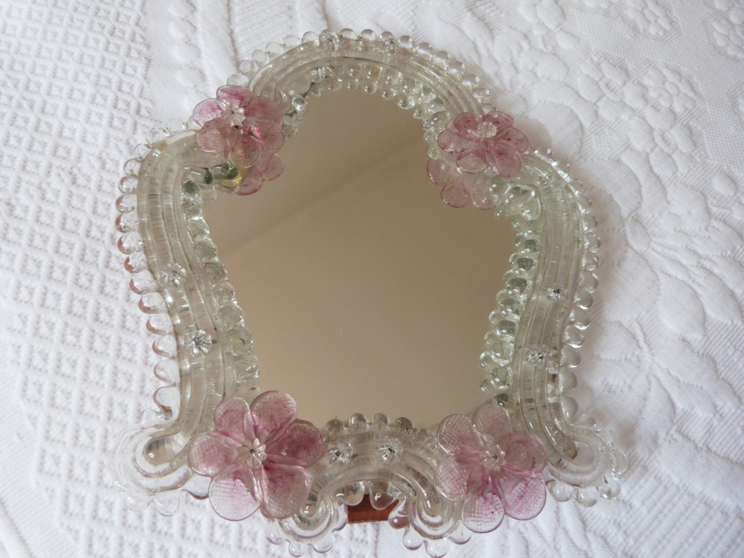 Antique Venetian Mirror Murano Glass Mirror Vanity Mirror W Pertaining To Antique Venetian Mirrors For Sale (Image 4 of 15)