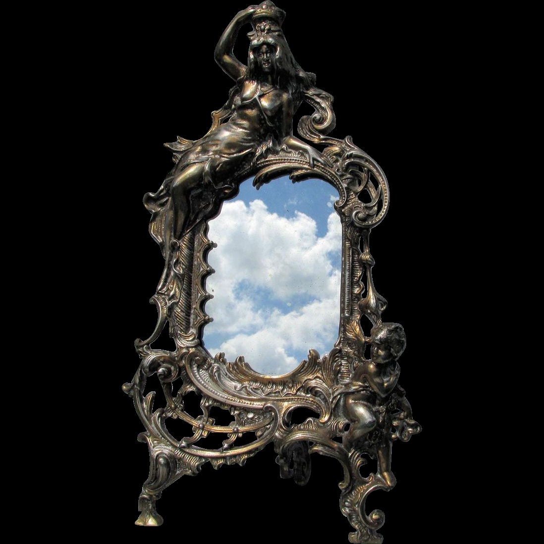 Antique Victorian Mirror Or Picture Frame With Queen Cherub From Intended For Victorian Mirrors Antique (Photo 1 of 15)