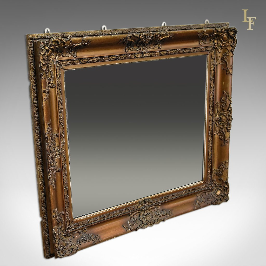 Antique Wall Mirror Victorian Gilt Gesso Frame Later Plate Pertaining To Victorian Mirrors Antique (Image 9 of 15)